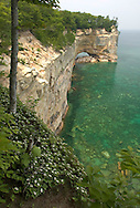 The Grand Portal rock formation in Pictured Rocks National Lakeshore near Munising, Michigan as seen from a backpacking trail.