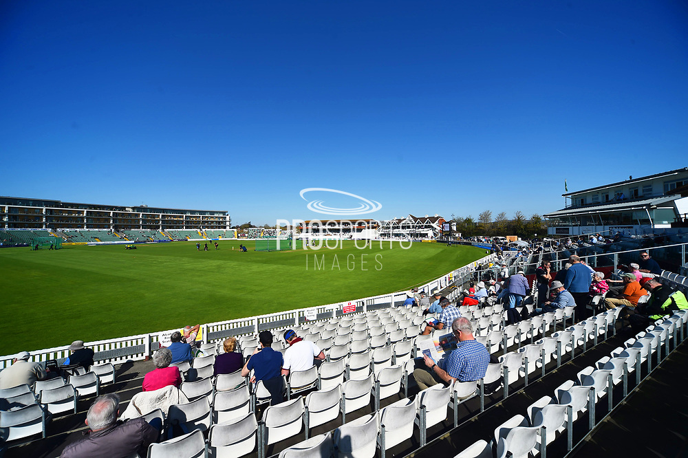 Clear blue skies and sunshine at the Cooper Associates County Ground before the first morning of the Specsavers County Champ Div 1 match between Somerset County Cricket Club and Worcestershire County Cricket Club at the Cooper Associates County Ground, Taunton, United Kingdom on 20 April 2018. Picture by Graham Hunt.