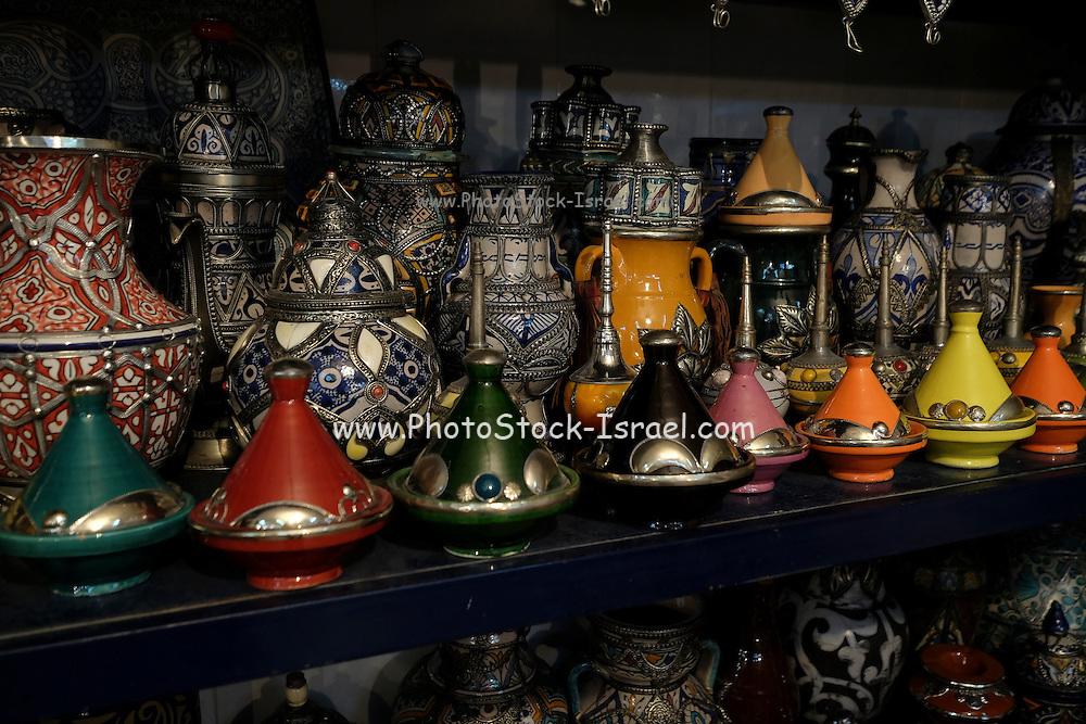 Tagine traditional Moroccan earthenware pots, Morocco