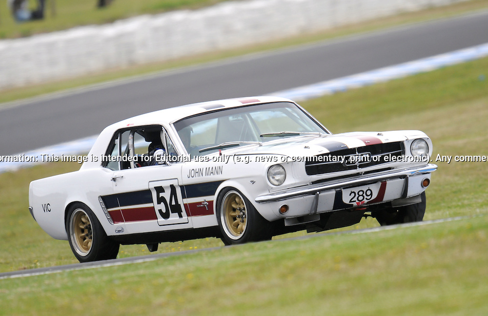 John Mann - Group Nc - Ford Mustang.Historic Motorsport Racing - Phillip Island Classic.18th March 2011.Phillip Island Racetrack, Phillip Island, Victoria.(C) Joel Strickland Photographics.Use information: This image is intended for Editorial use only (e.g. news or commentary, print or electronic). Any commercial or promotional use requires additional clearance.