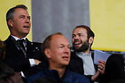 GOTHENBURG, SWEDEN - APRIL 14: Sonny Karlsson, sportchef of BK Hacken and Andreas Alm, head coach of BK Hacken on the stands during the Allsvenskan match between BK Hacken and Dalkurd FF at Bravida Arena on April 14, 2018 in Gothenburg, Sweden. Photo by Nils Petter Nilsson/Ombrello ***BETALBILD***