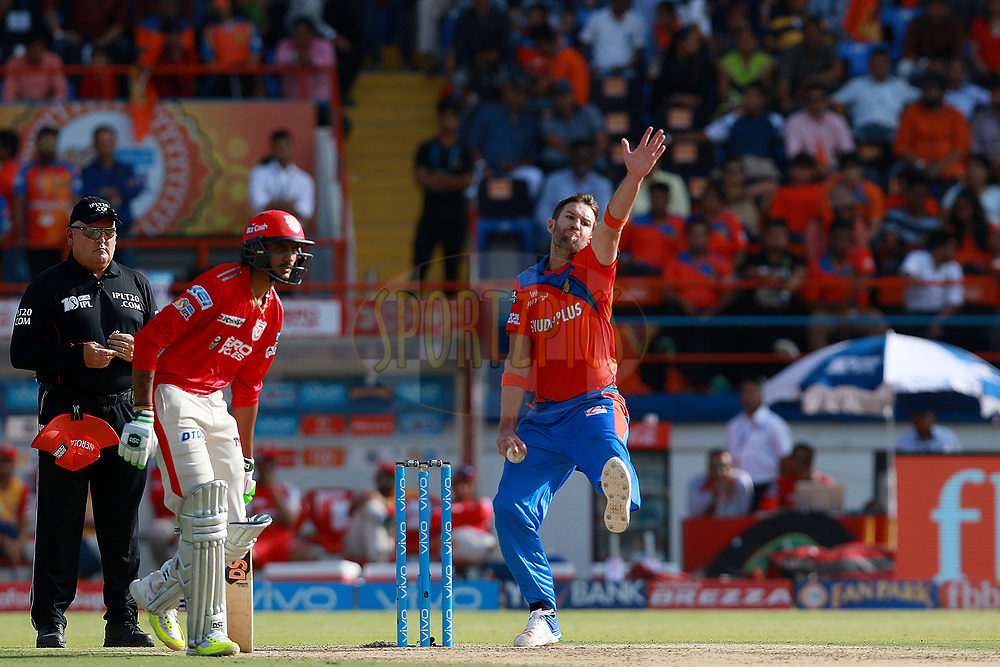 Andrew Tye of GL bowls during match 26 of the Vivo 2017 Indian Premier League between the Gujarat Lions and the Kings XI Punjab held at the Saurashtra Cricket Association Stadium in Rajkot, India on the 23rd April 2017<br /> <br /> Photo by Rahul Gulati - Sportzpics - IPL