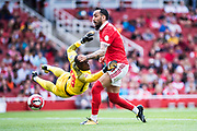 Benfica forward Kostas Mitroglou (11), RB Leipzig goalkeeper Yvon Mvogo (28) during the Emirates Cup 2017 match between Leipzig and Benfica at the Emirates Stadium, London, England on 30 July 2017. Photo by Sebastian Frej.