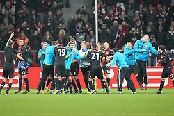 23.11.2011, BayArena, Leverkusen, Germany, UEFA CL, Gruppe E, Bayer 04 Leverkusen (GER) vs Chelsea FC (ENG), im Bild Leverkusener Spieler feiern nach dem 2:1 Sieg // during the football match of UEFA Champions league, group E, between Bayer Leverkusen (GER) and FC Chelsea (ENG) at BayArena, Leverkusen, Germany on 2011/11/23.EXPA Pictures © 2011, PhotoCredit: EXPA/ nph/ Mueller..***** ATTENTION - OUT OF GER, CRO *****