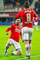 ALKMAAR - 27-01-2016, AZ - Cambuur, AFAS Stadion, AZ speler Joris van Overeem heeft de 2-0 gescoord, AZ speler Alireza Jahanbakhsh (l), 3-1.