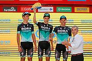Podium, Davide Formolo (ITA - Bora - Hansgrohe), Emanuel Buchmann (GER - Bora - Hansgrohe), Rafal Majka (POL - Bora - Hansgrohe) during the UCI World Tour, Tour of Spain (Vuelta) 2018, Stage 4, Velez Malaga - Alfacar Sierra de la Alfaguara 161,4 km in Spain, on August 28th, 2018 - Photo Luis Angel Gomez / BettiniPhoto / ProSportsImages / DPPI