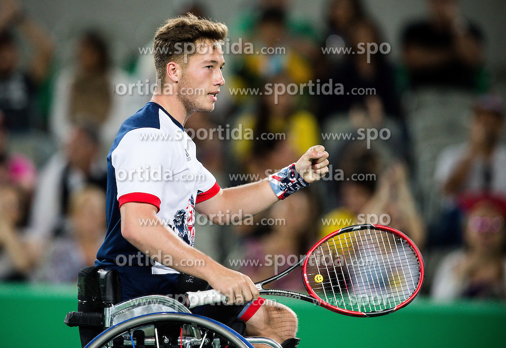 Gordon Reid and Alfie Hewett (out of frame) of the UK play against Stephane Houdet (out of frame) and Nicolas Peifer (out of frame) of France in the Tennis Men's Doubles Gold Medal Match during Day 8 of the Rio 2016 Summer Paralympics Games on September 15, 2016 in Olympic Tennis Centre, Rio de Janeiro, Brazil. Photo by Vid Ponikvar / Sportida