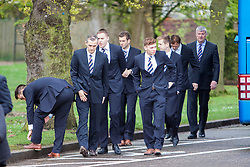 © Licensed to London News Pictures. 02/05/2014 The Rangers first team attending the Funeral of  Legendary Scottish Footballer Sandy Jardine which took place at Mortonhall Crematorium today. Edinburgh, Scotland Photo credit : Duncan McGlynn/LNP