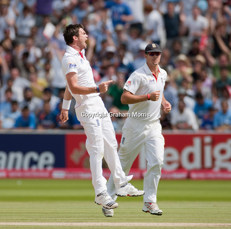 James Anderson celebrates taking the wicket of Sachin Tendulkar during the first npower Test Match between England and India at Lord's Cricket Ground, London.  Photo: Graham Morris (Tel: +44(0)20 8969 4192 Email: sales@cricketpix.com) 25/07/11