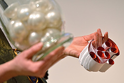 30-03-2015 NED: FIVB Drawing WCH Beach Volleyball, The Hague<br /> The Drawing of Lots for the FIVB Beach Volleyball World Championships The Netherlands 2015 will take place at the Mauritshuis art museum / Balletjes en strookjes
