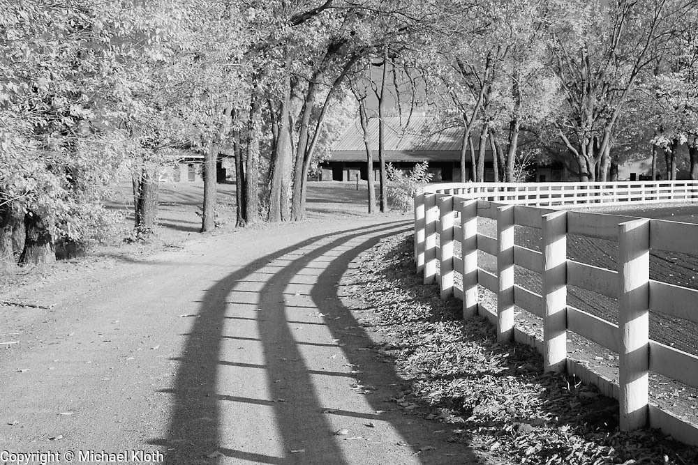 Road at the Red Mile in Lexington, KY.  Infrared (IR) photograph by fine art photographer Michael Kloth. Black and white infrared photographs