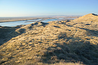 View of Columbia River and Hanford Nuclear Reservation from Hanford Reach Southeastern Washington USA.