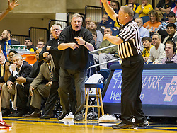 Nov 23, 2015; Morgantown, WV, USA; West Virginia Mountaineers head coach Bob Huggins yells from the sidelines during the first half against the Bethune-Cookman Wildcats at WVU Coliseum. Mandatory Credit: Ben Queen-USA TODAY Sports