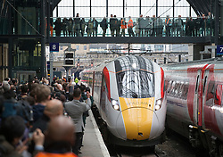 © Licensed to London News Pictures. 18/03/2016. London, UK. Virgin Train's new Azuma train for the East Coast main line arrives at King's Cross station. Photo credit: Peter Macdiarmid/LNP