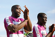 Barnet FC Striker John Akinde (9) applauds the travelling fans after the Sky Bet League 2 match between Crawley Town and Barnet at the Checkatrade.com Stadium, Crawley, England on 7 May 2016. Photo by Andy Walter.
