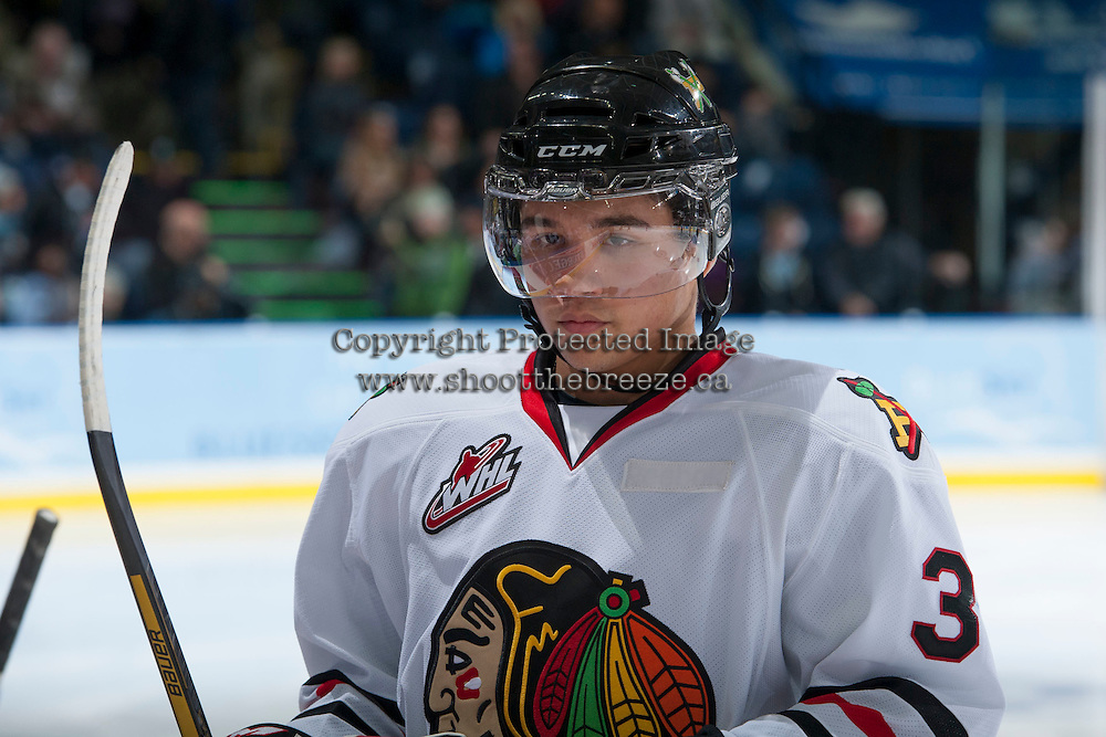 KELOWNA, CANADA - OCTOBER 4:  Ethan Price #3 of the Portland Winterhawks stands on the ice at the Kelowna Rockets on October 4, 2013 at Prospera Place in Kelowna, British Columbia, Canada (Photo by Marissa Baecker/Shoot the Breeze) *** Local Caption ***