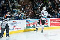 KELOWNA, CANADA - MARCH 26: Tomas Soustal #15 of Kelowna Rockets celebrates the first goal against the Kamloops Blazers on March 26, 2016 at Prospera Place in Kelowna, British Columbia, Canada.  (Photo by Marissa Baecker/Shoot the Breeze)  *** Local Caption *** Tomas Soustal;
