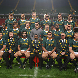 CARDIFF, WALES - NOVEMBER 12, Back Willem Alberts Pierre Spies Flip van der Merwe Jannie du Plessis Bismarck du Plessis Ruan Pienaar Middle Gio Aplon Tendai Mtawarira Zane Kirchner Francois Steyn Thinus Delport   Morne Steyn   Chiliboy Ralepelle Deon Stegmann Francois Hougaard Patrick Lambie Front Jean de Villiers Bryan Habana Dick Muir assistant coach Victor Matfield captain Peter de Villiers Head Coach Juan Smith Gary Gold assistant coach Bakkies Botha and CJ van der Linde  during the South African rugby team photo and captain's run at Millennium Stadium on November 12, 2010 in Cardiff, Wales