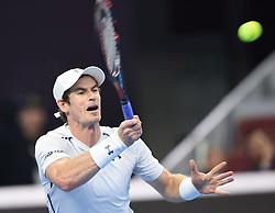 BEIJING, Oct. 9, 2016  Andy Murray of Britain hits a return to Grigor Dimitrov of Bulgaria during the men's singles final at the China Open tennis tournament in Beijing, capital of China, Oct. 9, 2016. Murray claimed the title of the event after beating Dimitrov 2-0. (Credit Image: © Li Wen/Xinhua via ZUMA Wire)
