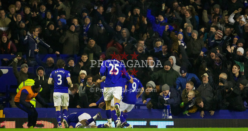 LIVERPOOL, ENGLAND - Tuesday, January 31, 2012: Everton's Darron Gibson celebrates scoring the first goal against Manchester City during the Premiership match at Goodison Park. (Pic by Vegard Grott/Propaganda)