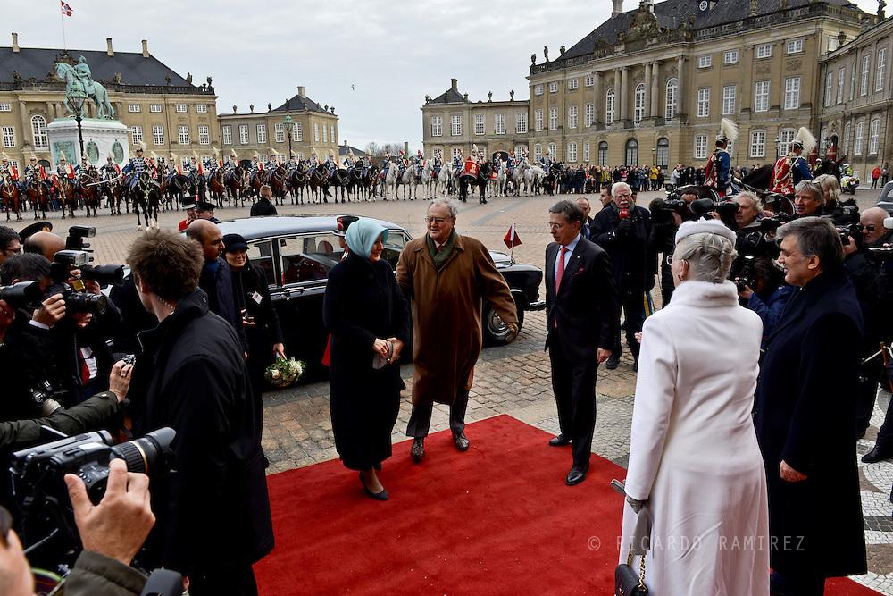 17.03.2014. Copenhagen, Denmark.HRH the Prince Consort Henrik and Mrs. Hayrünnisa Gül arrival at the Amalienborg Palace.Photo:© Ricardo Ramirez