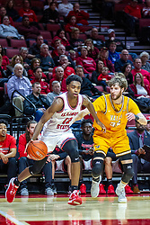 NORMAL, IL - February 15: Antonio Reeves charges the baseline defended by Ryan Fazekas during a college basketball game between the ISU Redbirds and the Valparaiso Crusaders on February 15 2020 at Redbird Arena in Normal, IL. (Photo by Alan Look)