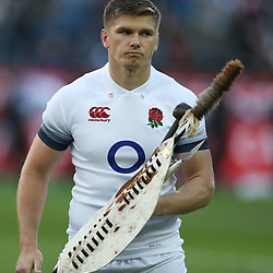 Owen Farrell (captain) of England taking the Impi Challenge during the 2018 Castle Lager Incoming Series 3rd Test match between South Africa and England at Newlands Rugby Stadium,Cape Town,South Africa. 23,06,2018 Photo by (Steve Haag JMP)