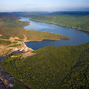 Aerial of Chalillo Dam and resevior, in the Cayo District, Belize