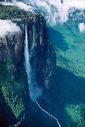 Aerial of Angel Falls (Salto Angel), highest waterfall in the world (979m) at Auyantepui table mountain, Canaima National Park, Venezuela, Bolivar State.