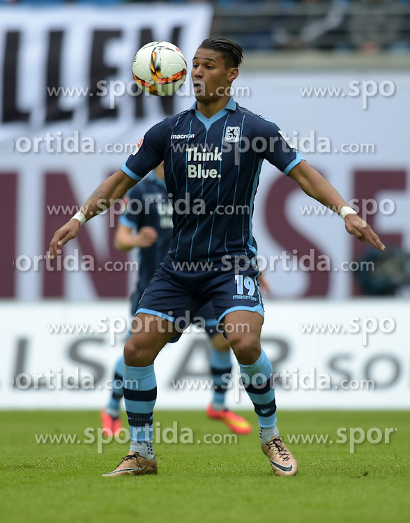 13.03.2016, Red Bull Arena, Leipzig, GER, 2. FBL, RB Leipzig vs TSV 1860 Muenchen, 26. Runde, im Bild Rubin Rafael Okotie (1860 #19) // during the 2nd German Bundesliga 26th round match between RB Leipzig and TSV 1860 Muenchen at the Red Bull Arena in Leipzig, Germany on 2016/03/13. EXPA Pictures &copy; 2016, PhotoCredit: EXPA/ Eibner-Pressefoto/ Modla<br /> <br /> *****ATTENTION - OUT of GER*****