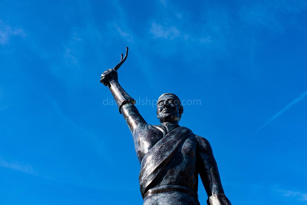 Statue of cyclist Eugene Christophe, Sainte-Marie de Campan, Bigorre, France