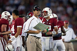 September 19, 2009; Stanford, CA, USA;  Stanford Cardinal head coach Jim Harbaugh on the sidelines during the fourth quarter against the San Jose State Spartans at Stanford Stadium. Stanford defeated San Jose State 42-17. Mandatory Credit: Jason O. Watson-US PRESSWIRE