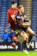 Dougie Fife beats Keith Earls to the ball during the Guinness Pro 14 2017_18 match between Edinburgh Rugby and Munster Rugby at Myreside Stadium, Edinburgh, Scotland on 16 March 2018. Picture by Kevin Murray.
