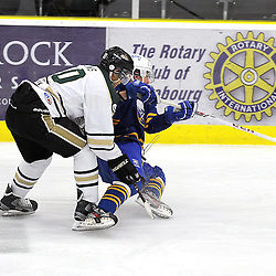 COBOURG, ON - Dec 23 : Ontario Junior Hockey League Game Action between the Cobourg Cougars and the Buffalo Jr. Sabres, Theo Lewis #10 of the Cobourg Cougars Hockey Club battles for the puck with Josh Gabriel #13 of the Buffalo Junior Sabres Hockey Club  during first period game action.<br /> (Photo by Andy Corneau / OJHL Images)