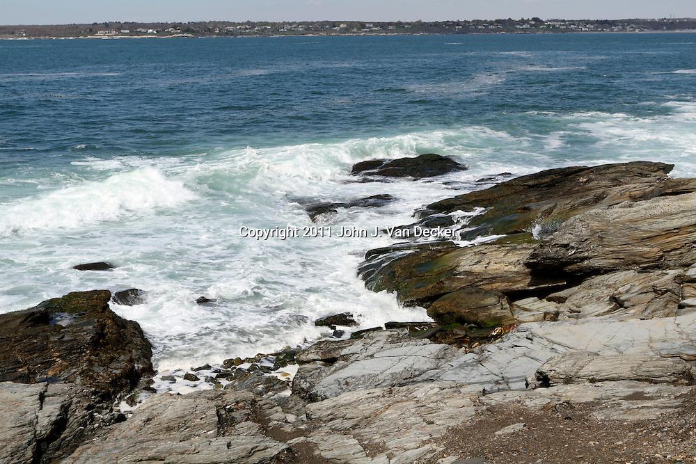 The rocky coastline near the Beavertail lighthouse. Jamestown, Rhode Island, USA