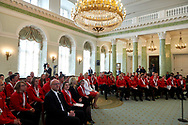 Warsaw, Poland - 2017 March 31: First Lady Agata Kornhauser-Duda looks forward next to Antoni Wiercioch while meeting with  Special Olympics athletes at Polish President's Palace on March 31, 2017 in Warsaw, Poland.<br /> <br /> Mandatory credit:<br /> Photo by © Adam Nurkiewicz / Mediasport<br /> <br /> Adam Nurkiewicz declares that he has no rights to the image of people at the photographs of his authorship.<br /> <br /> Picture also available in RAW (NEF) or TIFF format on special request.<br /> <br /> Any editorial, commercial or promotional use requires written permission from the author of image.<br /> <br /> Image can be used in the press when the method of use and the signature does not hurt people on the picture.