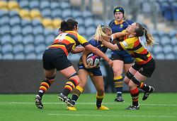 Brooke Bradley of Worcester Valkyries tries to hold off Alice Soper of Richmond Women- Mandatory by-line: Nizaam Jones/JMP - 22/09/2018 - RUGBY - Sixways Stadium - Worcester, England - Worcester Valkyries v Richmond Women - Tyrrells Premier 15s