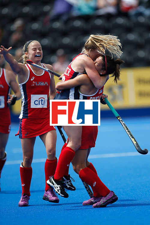LONDON, ENGLAND - JUNE 18:  Jill Witmer of the USA is congratulated by teammate Melissa Gonzalez after scoring  during the FIH Women's Hockey Champions Trophy 2016 match between United States and Australia at Queen Elizabeth Olympic Park on June 18, 2016 in London, England.  (Photo by Joel Ford/Getty Images)