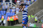 Reading's Orlando Sa goal ruled offside during the Sky Bet Championship match between Reading and Milton Keynes Dons at the Madejski Stadium, Reading, England on 22 August 2015. Photo by Mark Davies.