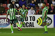 Dannie Bulman of AFC Wimbledon equalises and celebrates just before half time during the Sky Bet League 2 match between Accrington Stanley and AFC Wimbledon at the Fraser Eagle Stadium, Accrington, England on 20 October 2015. Photo by Stuart Butcher.