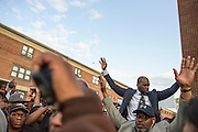 Baltimore, Maryland - April 21, 2015: Rev. Jamal Bryant leads the protest crowd during a vigil-turned-protest march for the death of Freddie Gray who was injured while detained by police, and died from his injuries Sunday. His spinal cord was 80% severed.<br /> <br /> CREDIT: Matt Roth for The New York Times<br /> Assignment ID: 30173645A