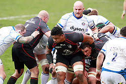 Osefa Tekori and Louis Picamoles force the pack forward.Stade Toulousain v Bath, European Champions Cup 2015, Stade Ernest Wallon, Toulouse, France, 18th Jan 2015.