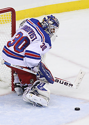 May 21, 2012; Newark, NJ, USA; New York Rangers goalie Henrik Lundqvist (30) makes a save during the first period in game four of the 2012 Eastern Conference Finals at the Prudential Center.