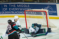 KELOWNA, CANADA - OCTOBER 10: Liam Hughes #30 of the Seattle Thunderbirds misses a save on a shot by Nolan Foote #29 of the Kelowna Rockets  on October 10, 2018 at Prospera Place in Kelowna, British Columbia, Canada.  (Photo by Marissa Baecker/Shoot the Breeze)  *** Local Caption ***