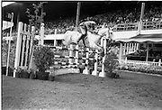 "09/08/1962<br /> 08/09/1962<br /> 09 August 1961<br /> RDS Horse Show, Ballsbridge Dublin, Thursday. <br /> Picture shows ""Pioneer"" of Italy ridden by Captain Piero d'Inzeo."