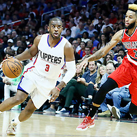 09 November 2016: Los Angeles Clippers guard Chris Paul (3) drives past Portland Trail Blazers guard Allen Crabbe (23) during the LA Clippers 111-80 victory over the Portland Trail Blazers, at the Staples Center, Los Angeles, California, USA.
