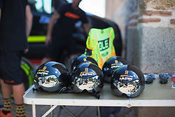 Ale-Cipollini Cycling Team helmets are ready for Stage 1 of the Madrid Challenge - a 12.6 km team time trial, starting and finishing in Boadille del Monte on September 15, 2018, in Madrid, Spain. (Photo by Balint Hamvas/Velofocus.com)