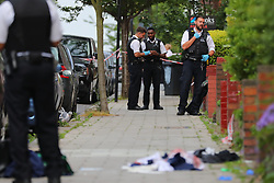 © Licensed to London News Pictures. 08/06/2018. London, UK. The scene at Amesbury Avenue in Streatham Hill, south London, where it is reported that a young man has been stabbed. Photo credit: Rob Pinney/LNP