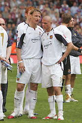 CARDIFF, WALES - SATURDAY, MAY 13th, 2006: West Ham United's Teddy Sherringham (L) and Paul Konchesky look dejected after losing the FA Cup Final to Liverpool at the Millennium Stadium. (Pic by David Davies/Pool/Propaganda)