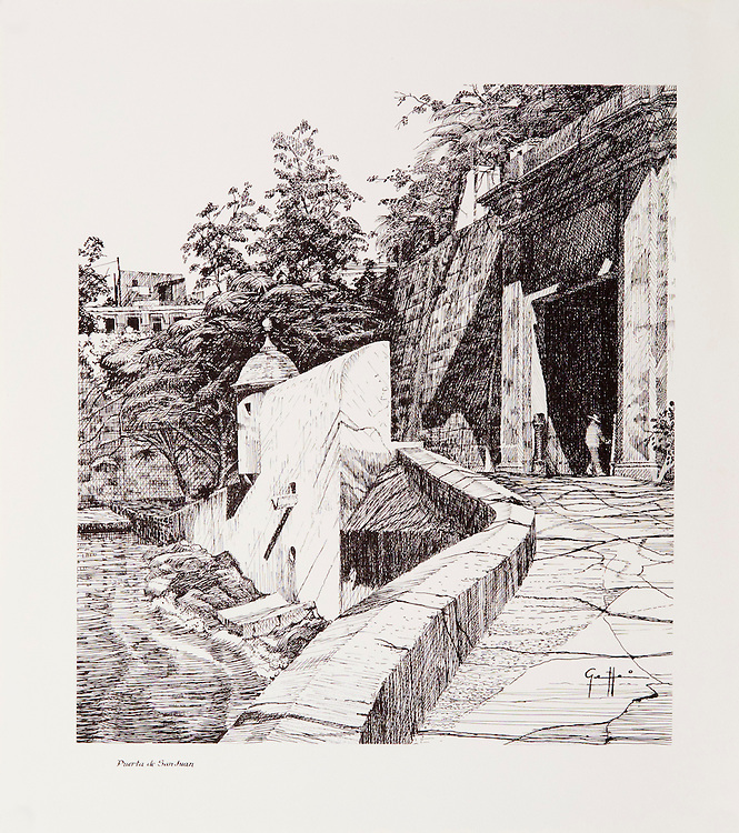 Cat. #13 - Lithographic print of Pen and Ink drawing of the entrance to the old city of San Juan seen seen from the ramp that leads up to the main gate of the city. This print is part of a set of three views of the city's entrance printed on pebbled, light weight stock.<br /> Paper size is 11 1/8 x 12 1/2&quot;. Image size is approximately 9 x 10 1/2&quot; <br /> Cat. #13 - Impresi&oacute;n litogr&aacute;fica de un dibujo a plumilla de la entrada a la antigua ciudad de San Juan visto visto desde la rampa que conduce a la puerta principal de la ciudad. Esta impresi&oacute;n es parte de un conjunto de tres vistas distintas de la entrada de la ciudad impresa en papel liviano con textura liviana.<br /> Tama&ntilde;o del papel es 11 1/8 x 12 1/2&quot;. Tama&ntilde;o de la imagen es aproximadamente 9 x 10 1/5&quot;